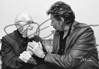 L'Abbé Pierre et Johnny Hallyday Paris 2003